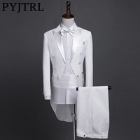 PYJTRL New Plus Size S 4XL Mens Classic Black White Shiny Lapel Tail Coat Tuxedo Wedding Groom Stage Singer Four Piece Suit