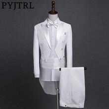 PYJTRL 新プラスサイズ S 4XL メンズクラシックブラックホワイト光沢のあるラペルテールコートタキシード結婚式新郎ステージ歌手 4 点スーツ