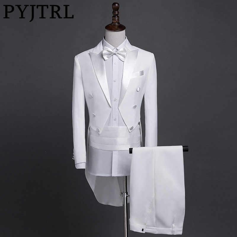 PYJTRL 新プラスサイズ S-4XL メンズクラシックブラックホワイト光沢のあるラペルテールコートタキシード結婚式新郎ステージ歌手 4 点スーツ