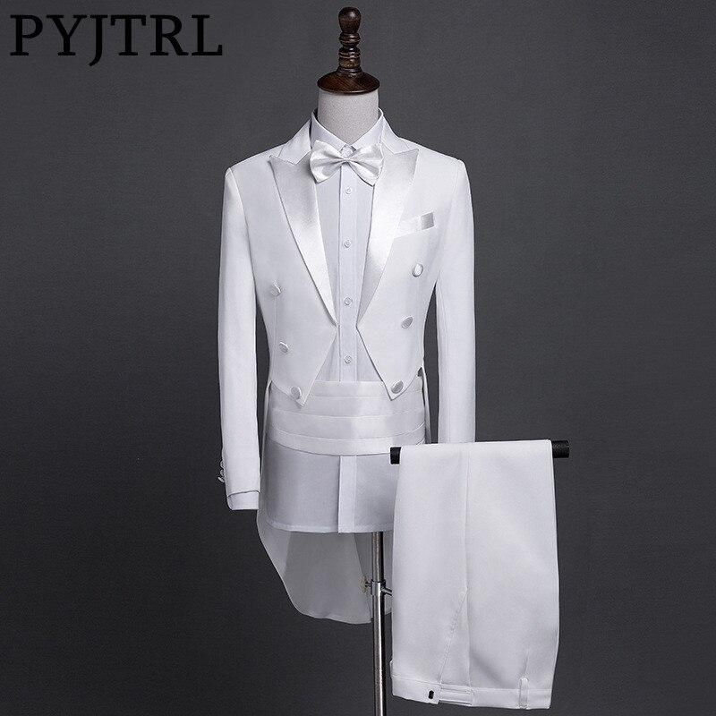 PYJTRL nouvelle grande taille S-4XL hommes classique noir blanc brillant revers queue manteau smoking mariage marié scène chanteur quatre pièces costume