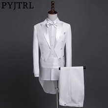 PYJTRL yeni artı boyutu S 4XL erkek klasik siyah beyaz parlak yaka kuyruk ceket smokin düğün damat sahne şarkıcı dört adet takım elbise