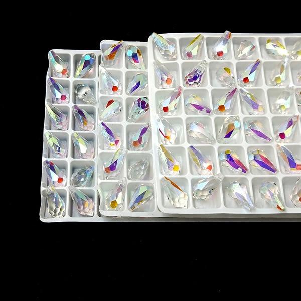10 Stücke Österreichischen Kristall Diy Handgemachte Perle Horizontale Loch Teardrop Kristall Perlen #6000 Teardrop Anhänger Bunte Weiß