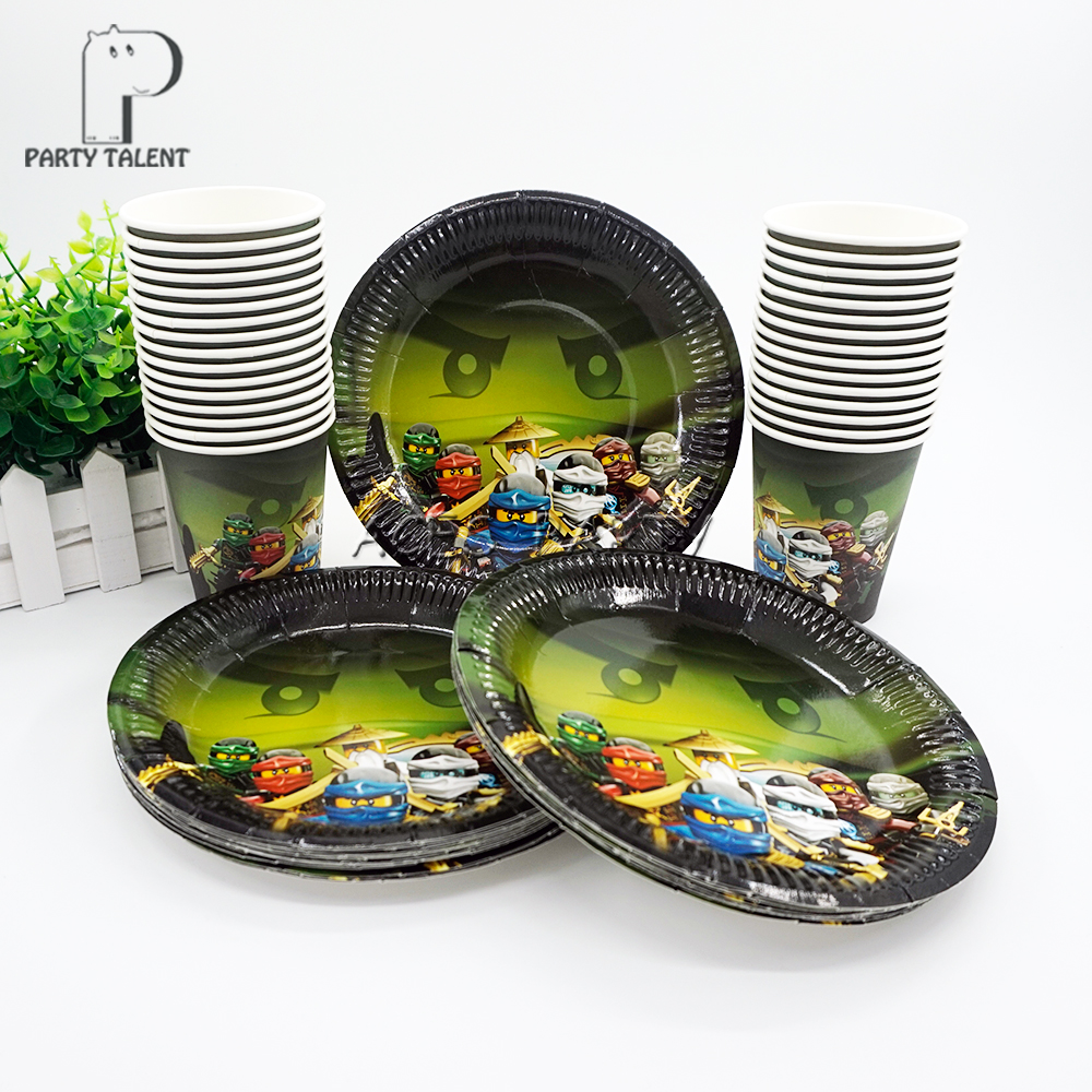 Party supplies 48pcs Lego Ninjago theme party kids birthday party tableware set, 24pcs plates dishes and 24pcs cups glasses dinosaur world jurassic park scene play mat kids
