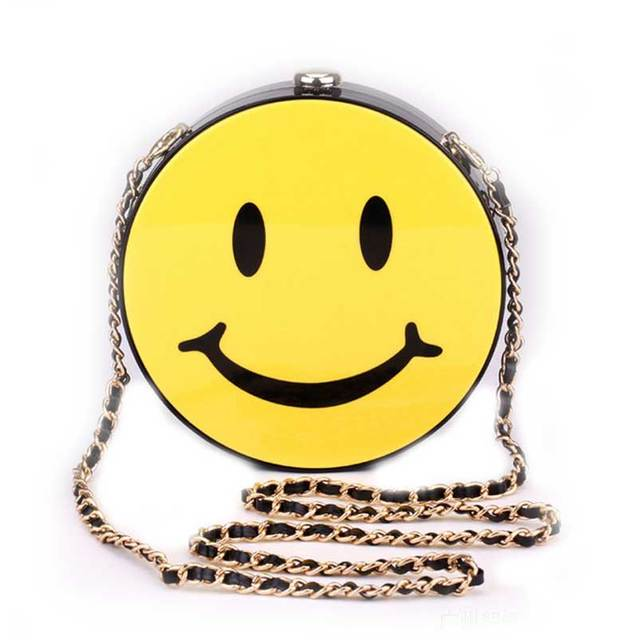 Spongebob Smile Face Evening Bag Cute Wedding Chain Circular Smiley Crossbody Las Smiling Shoulder Bags