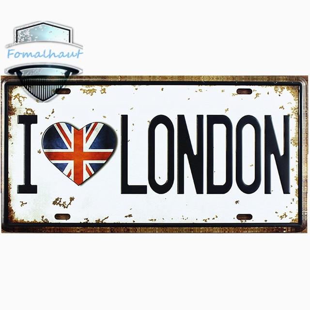 Vintage Car Plate  I LOVE LONDON  Wall Art Craft Vintage Metal Signs for Bar  sc 1 st  AliExpress.com & Vintage Car Plate