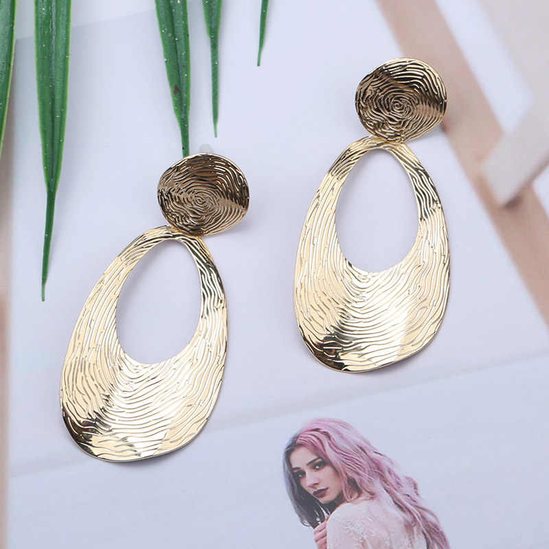 ES237 Fashion  Korean Earrings 2019 Punk Geometric Vintage Earrings For Women Big Dangle Metal Earrings Modern Popular Jewellery