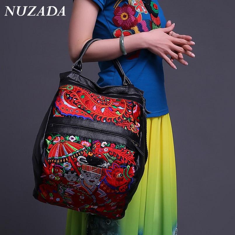 ФОТО Brands NUZADA Women Ladies Hand bag Handbag Tote Satchel Shoulder Messenger Crossbody Bags Genuine Leather embroidery sxd-003