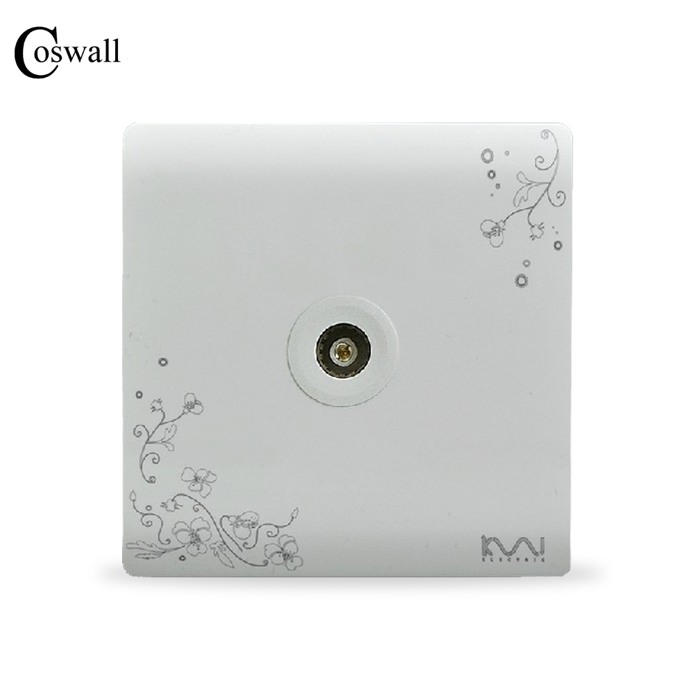 COSWALL Fashion Wall Socket, Ivory White, Brief Art Pattern, Single TV Outlet AC 110~250V