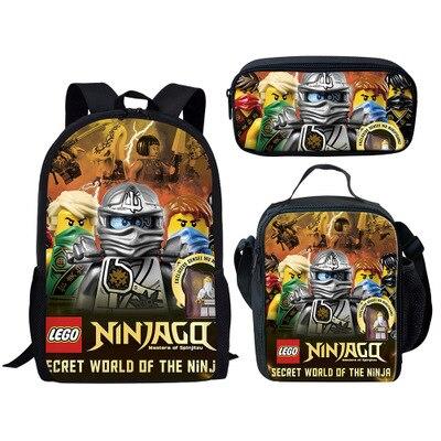 3Pcs Set Lego Cartoon Mochila School Backpacks Kids Shoulder Bags Lego  Ninjago Boys Pen Bookbags 78916bae2a39c