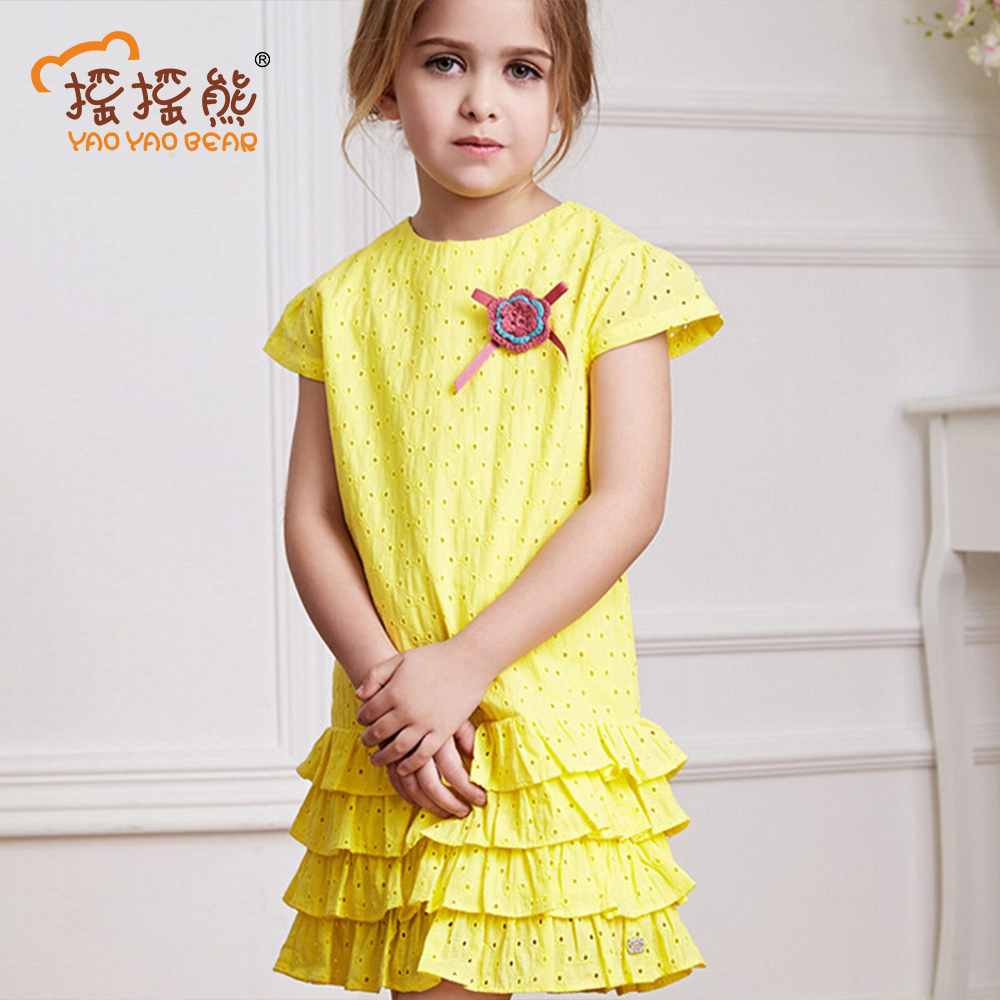 Girls Dresses Summer 2017 Solid Casual Kids Dresses For Girls Cotton Short-sleeve Girls Clothes Children Clothing