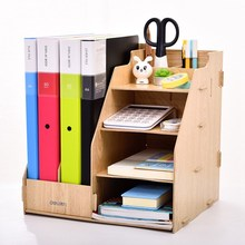 Deli Wooden Desk File Tray Set 2019 Creative High Quality DIY Fiber for School Stationery Office Business Orangizer Supply