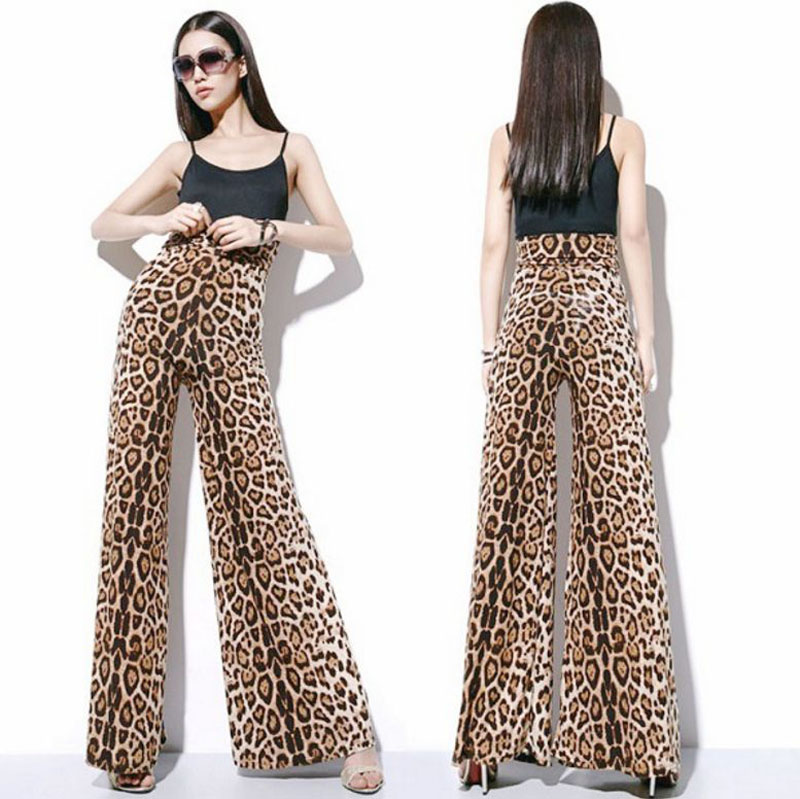 New Fashion Leopard Printed   Wide     Leg     Pants   Women High Waist Loose Palazzo Snakeshin   Pants   Elegant Office Ladies Trousers XS-6XL