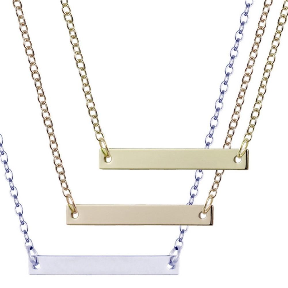 34e7b3dcd812 Barra Vertical Collar para hombres y mujeres en oro negro de Color plata  inicial colgante Acero