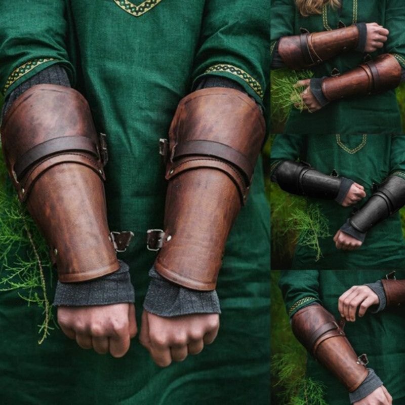 1 Pair Cosplay Props Faux Leather Wide Bracer Lace Up Arm Armor Cuff Cross String Steampunk Medieval Gauntlet Wristband 5