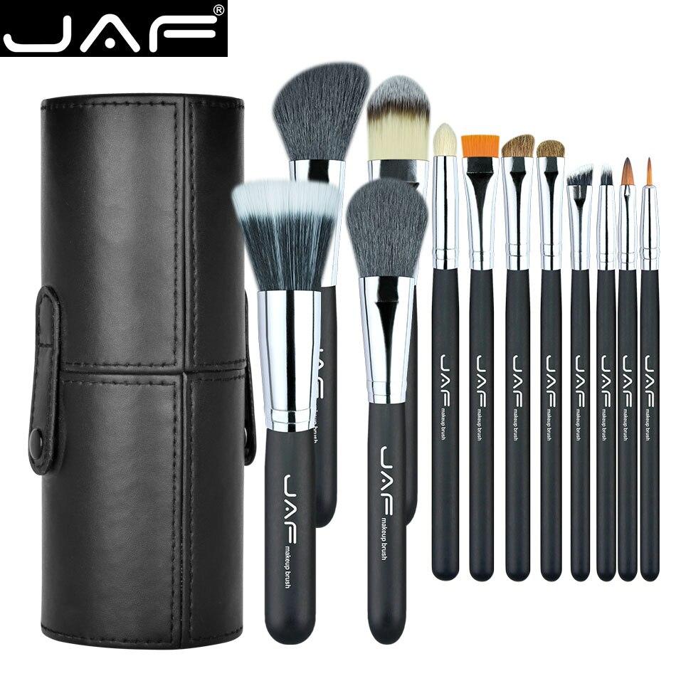 Las Fuerzas Armadas Jordanas marca 12 piezas maquillaje cepillos Kit titular tubo cómodo portátiles de cuero copa Natural de pelo Duo sintético fibra estudio J1204MCB