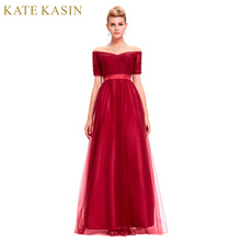 Черный, Красный Длинные Вечерние платья 2017 с открытыми плечами платье халат De Soiree Longue Элегантный Тюль короткий рукав Вечеринка платье