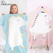 2018 Brand New Toddler Infant Newborn Baby  Blanket Pram Cot Bed Moses Basket Crib Unicorn Knit Blanket Cartoon Sleeping Bag