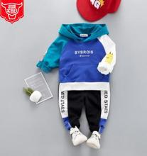 2019 Children S Fashion Clothes New Arrival Hooded Sweatshirt Baby Clothing Two Piece Set Blue Patchwork Suits SY-F191209
