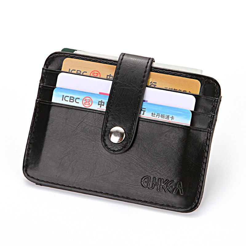 Men Women Small PU Leather Wallet Multi Function Fashion Zipper Hasp Coin Purse Credit Bank Plastic Card Case Holder Female Male