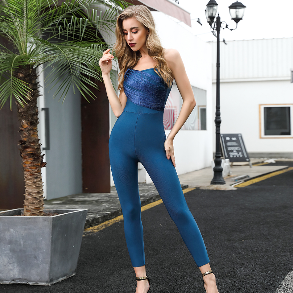 ADYCE Celebrity Runway Bandage Jumpsuit For Women 2019 New Summer Sexy Tassel Romper One Shoulder Jumpsuit