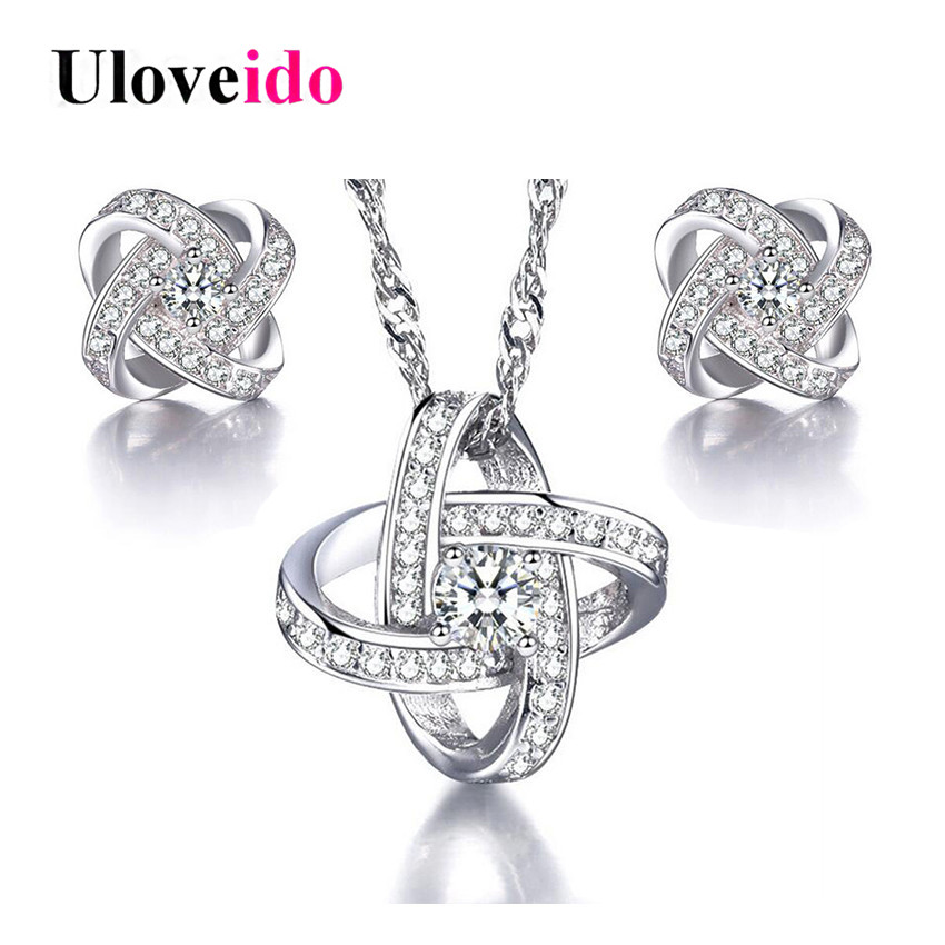 Uloveido Silver for Women Dubai Necklace Earring Jewellery