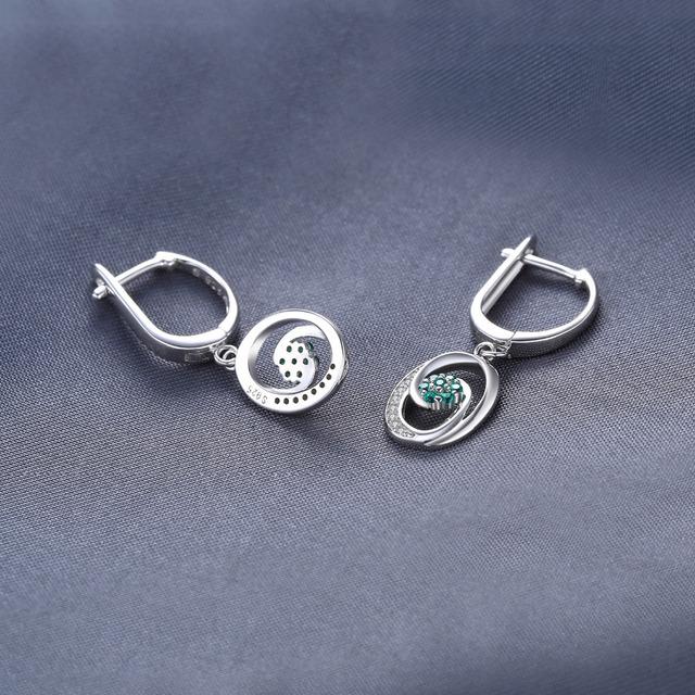 Strieborné náušnice ZELENÝ KVET Silver Drop Earrings GREEN FLOWER