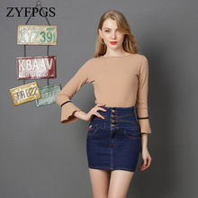 ZYFPGS 2019 Denim Skirt Pants For Women Summer Tutu for Basic Style Casual Wear Commerce Urban Fashion Z0512
