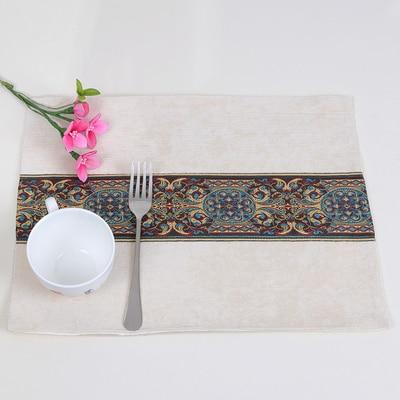 Лоскутный с вышивкой кружевное китайские столовые приборы стол колодки Статуэтка винтажный Европейский стиль бархатная ткань Настольный коврик - Цвет: Белый