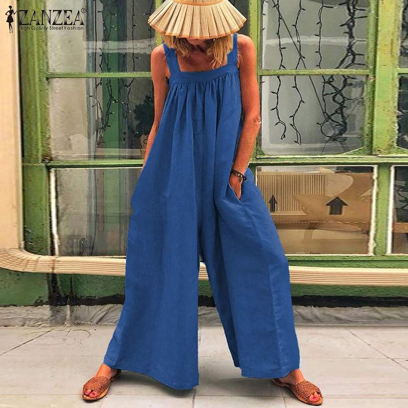 S 5XL ZANZEA Summer Fashion Long Jumpsuits 2019 Women Solid Sleeveless Party Wide Leg Pants Playsuits Overalls Femme Dungarees