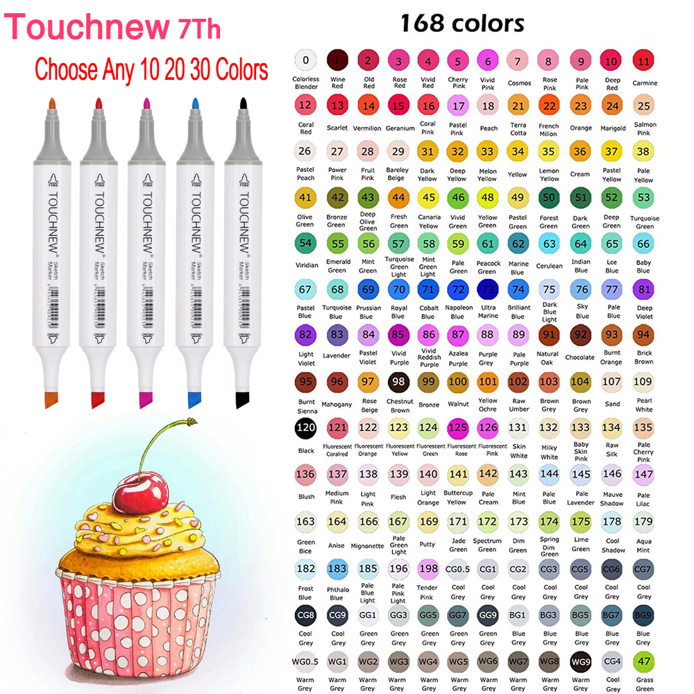 TOUCHNEW 7th Choose Any 10/20/30 Colors Dual Head Alcohol Comic Sketch Art Markers For Manga Drawing Markers Design Art Supplies