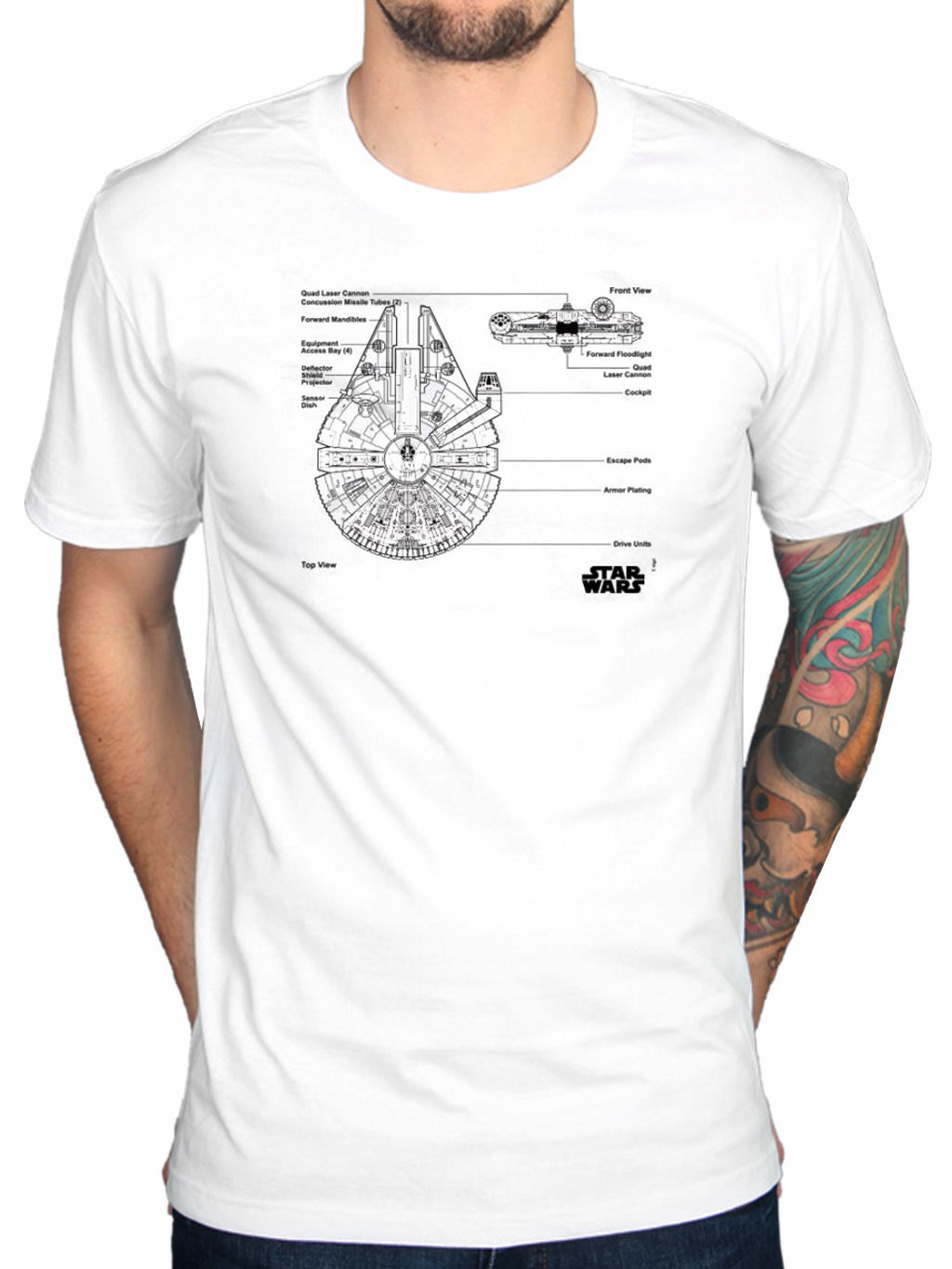 Men Adult T Shirt Short Sleeve Cotton Official Star Wars Millenium Falcon T-Shirt Jedi O ...