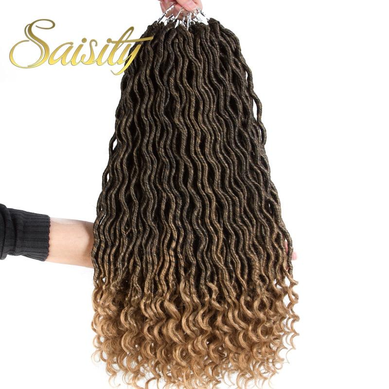 Saisity 2x boêmio mambo deusa loks cabelo de crochê extensões em massa sintéticas crochê tranças ombre trança cabelo