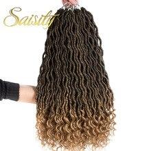 Saisity 2X Bohemian Mambo Goddess Loks Crochet Hair Synthetic Bulk Extensions Braids Ombre Braiding