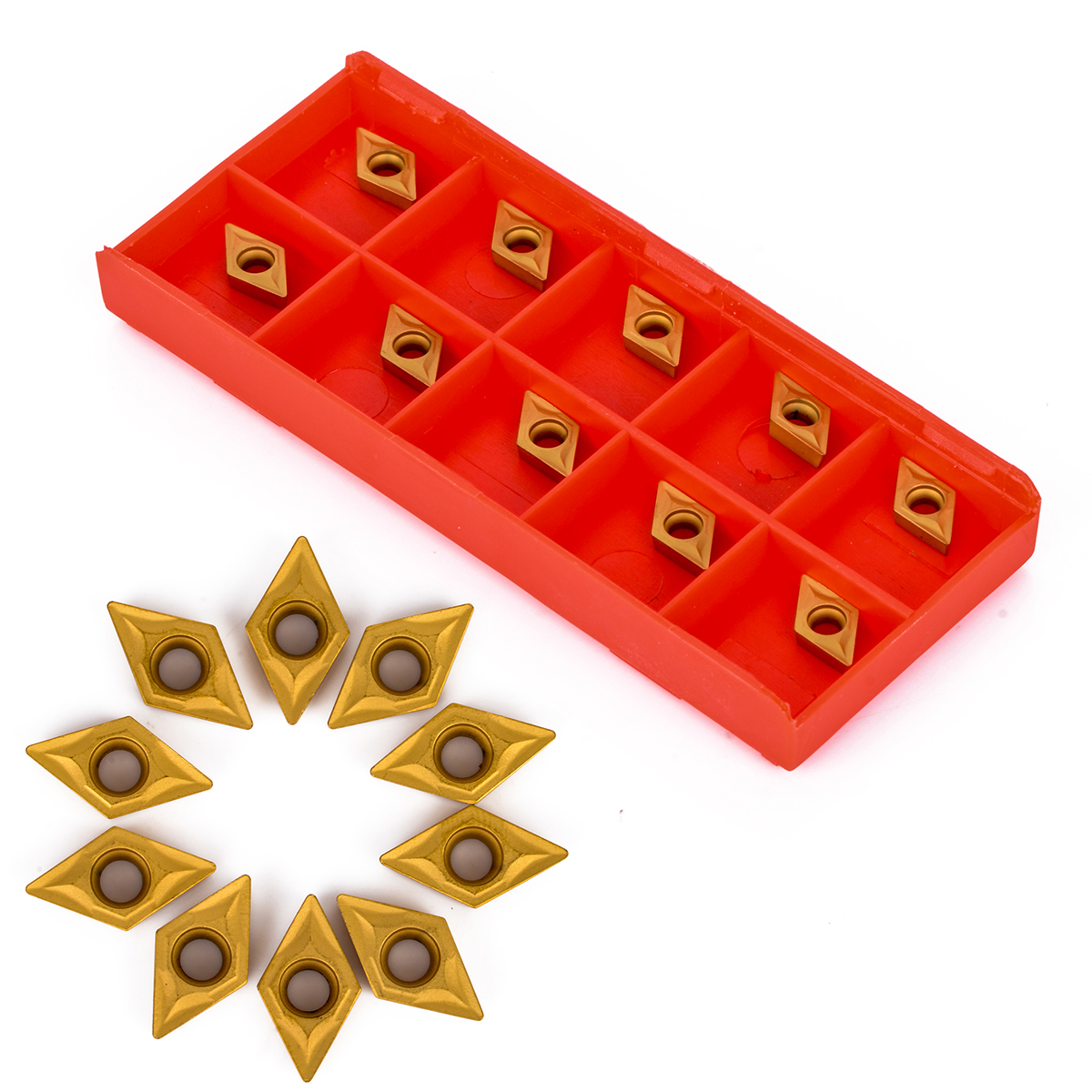 10Pcs DCMT070204 YBC251 Carbide Inserts 7 X 7 X 2mm For Lathe Turning Tool Boring Bar Cutter Blades