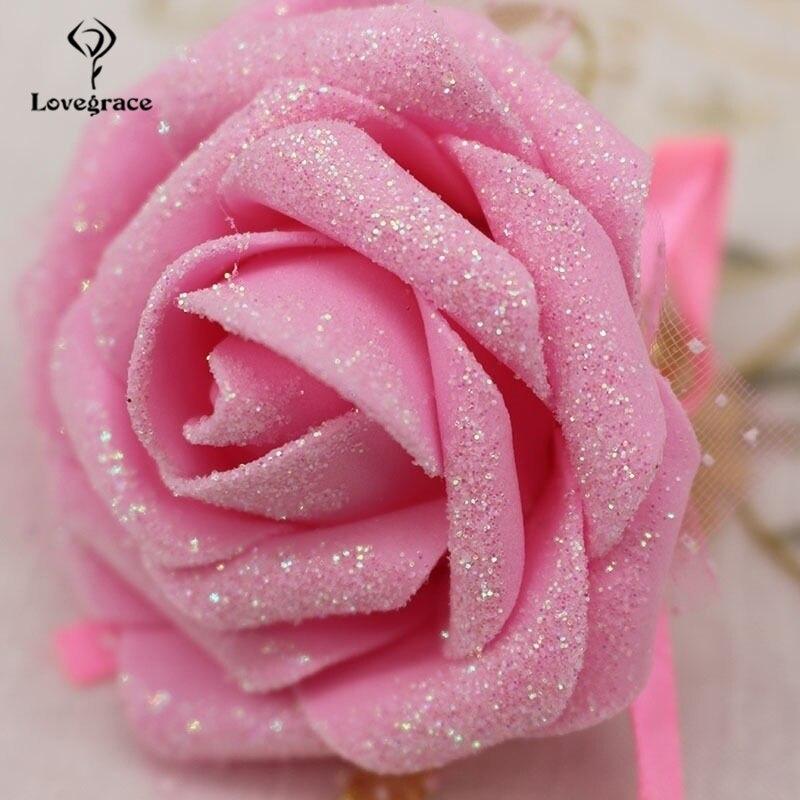 Artificial Roses Wrist Flowers Corsage Bracelet Bride Bridesmaid Wedding 1