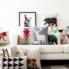 Cushion-Cover Pillowcase Linen Home-Decorative Elk Animal Geometric Bear-Deer Thick
