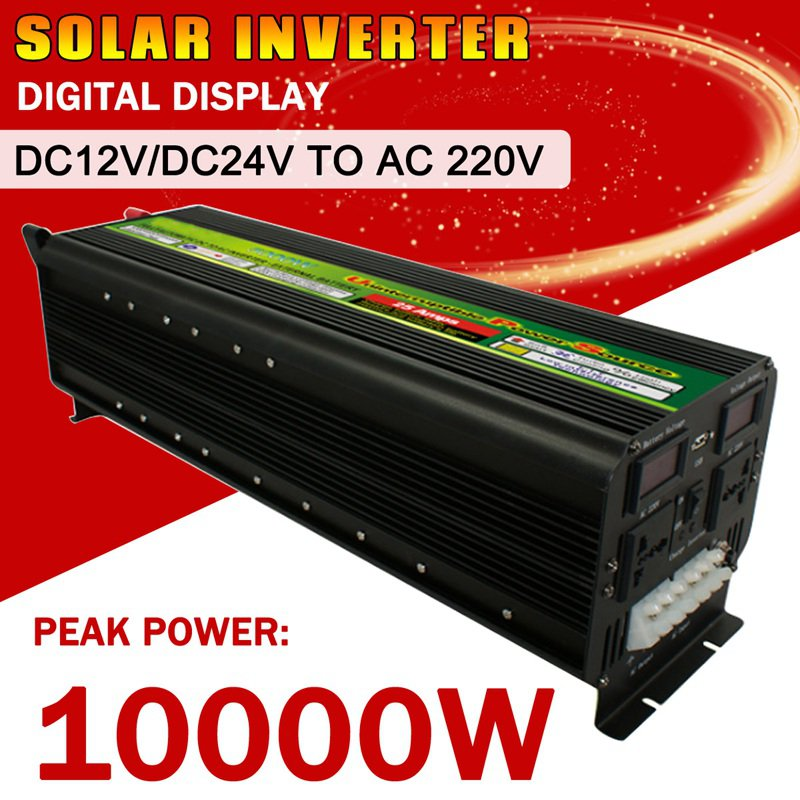 10000W Max 5000w DC 12V/24V to AC 220V Pure Sine Solar Power Inverter LCD Display Modified Sine Wave Converter for Solar System