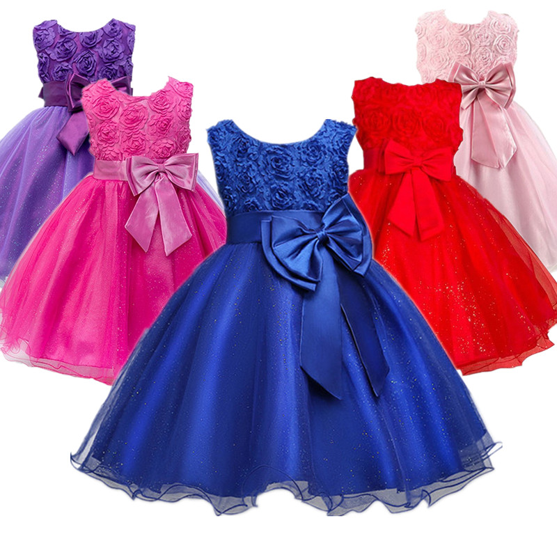 Blue Flower Girl Dress For Evening Prom Party Costume Teenage Girls Kids Clothes Wedding Birthday Gown Little Girl Red Clothes a15 fancy lace girls wedding gown summer teenage girls party costume for kids clothes children clothing girl prom ceremony dress