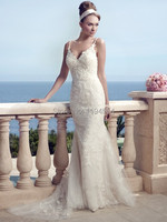2014 Vintage Beach Wedding Dress V Neck A Line Bridal Gown Low Back Spaghetti Straps Free