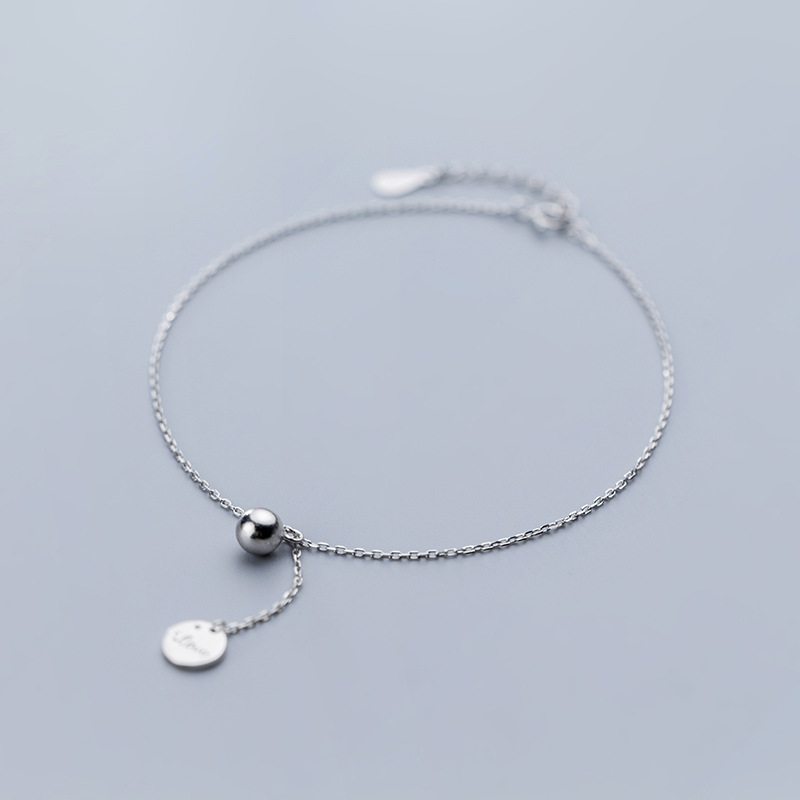 Obliging 1pc Authentic Real Anklets 925 Sterling Silver Fine Jewelry Personalitylove Disc Coin &lucky Round Ball Anklet Bracelet Gtls842 Good For Antipyretic And Throat Soother