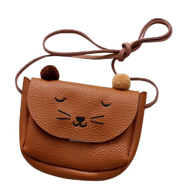 Детская сумка через плечо, маленькая сумка-мессенджер с кошачьими ушками, простая маленькая квадратная сумка для детей, универсальная Сумочка для монет, милые сумочки для принцесс - Цвет: Brown