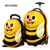 2016 New 16 Wheeled Luggage 12 Cool Backpack 3D Cartoon Children Suitcase ABS Cartoon Travel Trolley