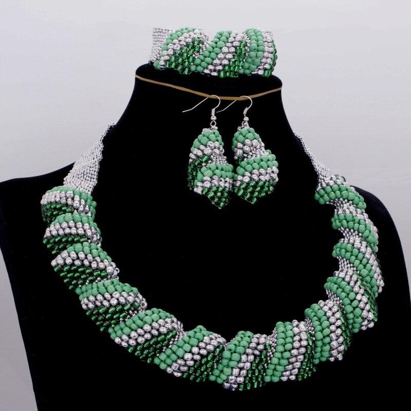 Dudo bijoux perles de mariage africaines ensemble de bijoux femmes vert et argent Antique ensemble nigérian collier de mariage ensemble livraison gratuite 2018