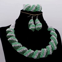 Dudo JEWELRY African Wedding Beads Jewelry Set Women Green & Silver Antique Set Nigerian Wedding Necklace Set Free Shipping 2018