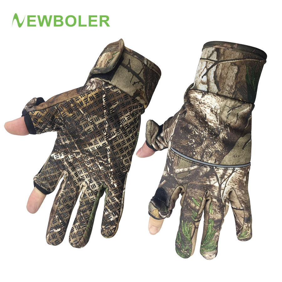 Winter Angeln Handschuhe Tarnung/2 Halbe Fingerhandschuhe Jagd Camping Anti Slip Gel Outdoor Sports Halten Warme Handschuhe Camo