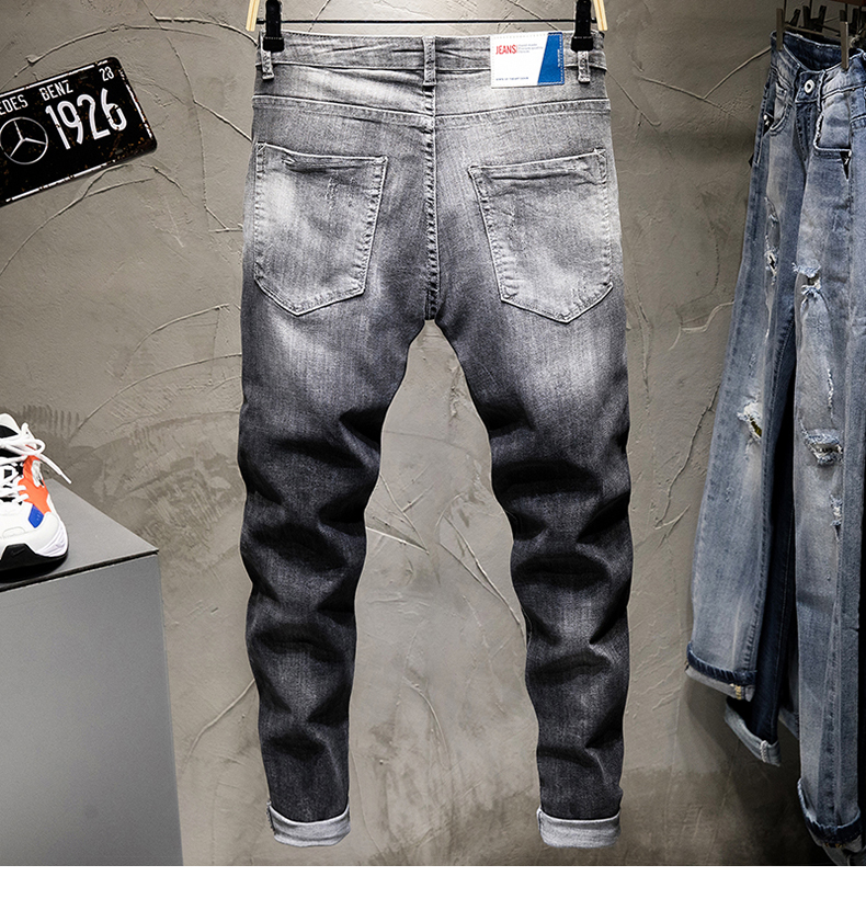 Biker Jeans for Men Gray Stretch Ripped Printed lightning Begger Denim Joggers Pants Yong Boys Stude