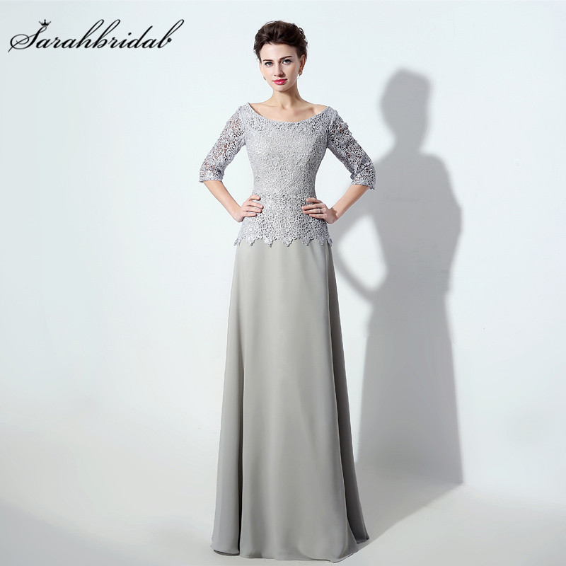 Gray Lace Mother Of the Bride Dresses With Half Sleeve O Neck Beaded Column Floor Length Chiffon Prom Gowns Back Zipper SD338