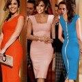Las nuevas mujeres elegantes de partido atractivo del desgaste del trabajo vaina bodycon lápiz de noche dress pink/blue/orange plus tamaños s/m/l/xl 22