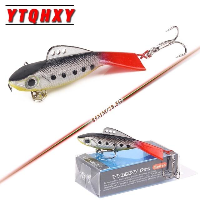 YTQHXY Winter Fishing Lure 85mm 28.5g Soft Bait Ice Fishing Wobblers Isca Artificial VIB Carp Fishing accessories YE-223