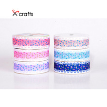 PPCrafts 6pcs 25mm flowers printed polyester grosgrain ribbon For hair accessories gift wrap decoration ribbons